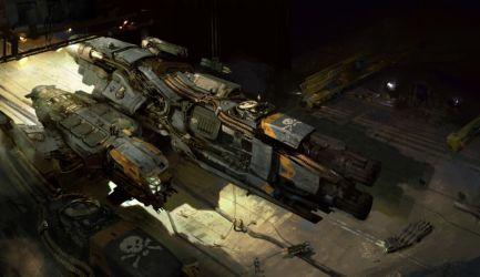 Dreadnought-Corvette in Hangar