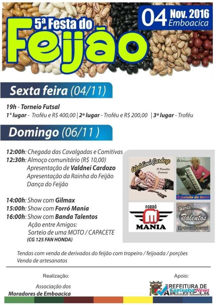 5ª Festa do Feijão neste final de semana em Emboacica