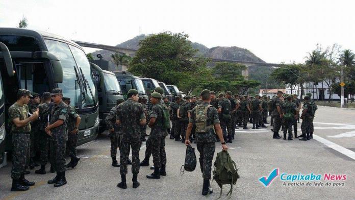 Exército do 38º Batalhão de Infantaria nas ruas a partir das 17h30