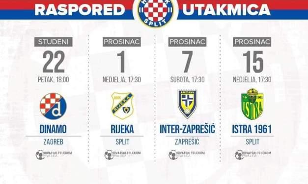 Hajdukov raspored do kraja polusezone