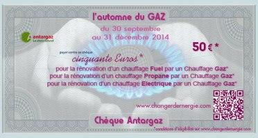 Chèque Antargaz réalisé par Serge Briez de Cap Médiations dans le cadre de la campagne de promotion l'Automne du gaz 2014