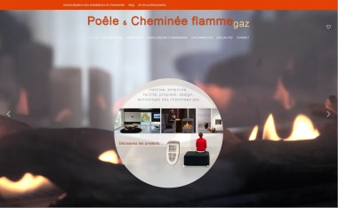 Page d'accueil du site Poêle et cheminées gaz, réalisé pour la filière n région Méditerranée en 2015