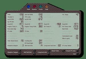 Aprilia Caponord ETV1000 Rally-Raid TuneBoy sensors display screen