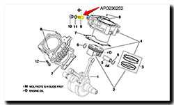 Aprilia Caponord ETV1000 Rally-Raid cam timing chain tensioner AP0236252 AP0236253