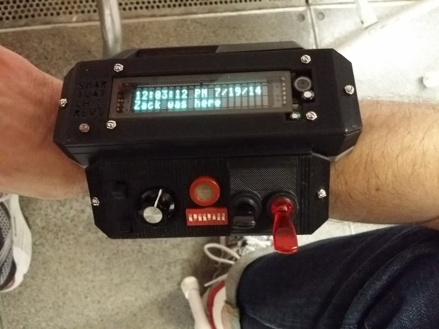 Zack Freedmans 3D-printed Big-Ass SmarTwatCh  http://zackfreedman.com/2014/07/19/my-3d-printed-big-ass-smartwatch/