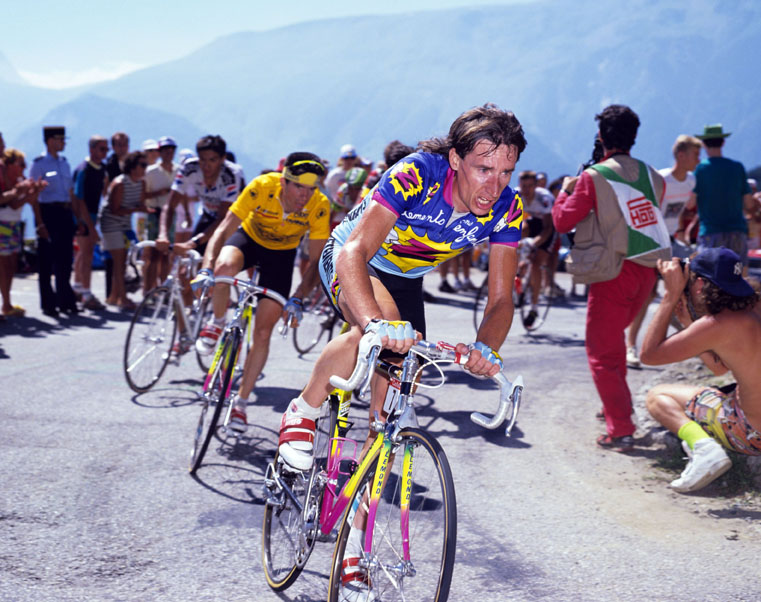 ROBERT MILLAR LEADS RONAN PENSEC IN THE 1990 TOUR DE FRANCE