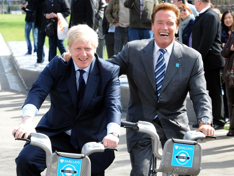 Mayor of London Boris Johnson and Arnold Schwarzenegger (right) on bikes outside City Hall, London.