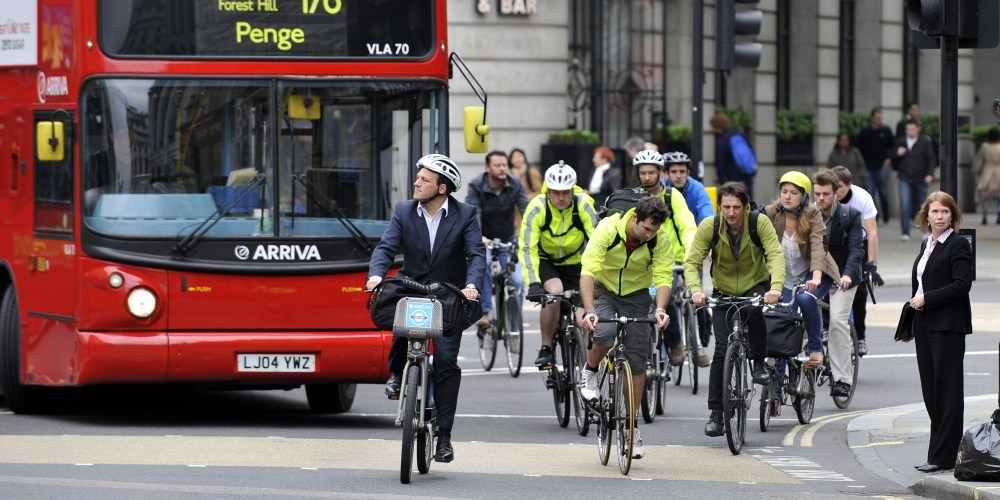 A general view of cyclists in central London.