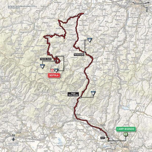 Giro-dItalia-2016-Stage-10-Campi-Bisenzio-to-Sestina-route-map