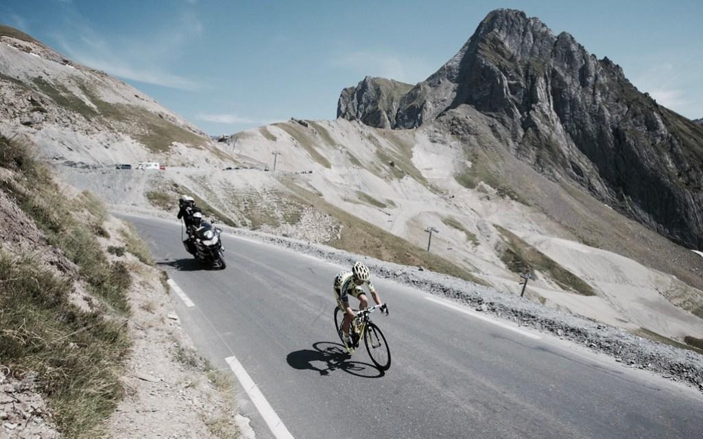 race leader Rafal Majka (POL/Tinkoff-Saxo) solo descending the Col du Tourmalet (HC/2115m/17km/7.3%) st11: Pau - Cauterets (188km) 2015 Tour de France