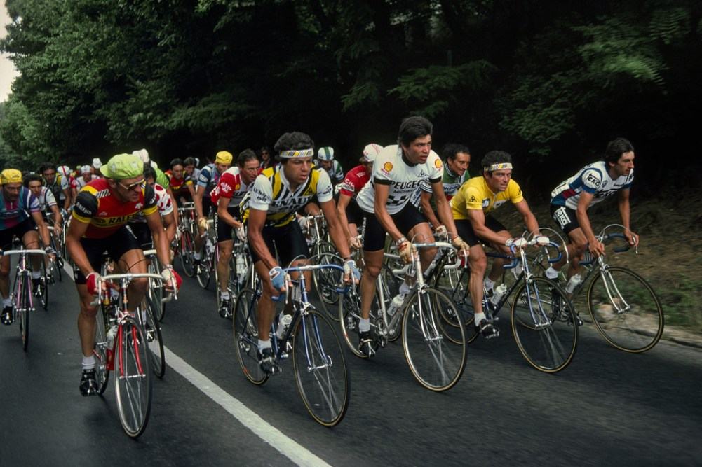 Tour de France 1982. In the picture, from left to right, Jan Raas the Dutch classics star, Hinault's loyal lieutenant Patrick Bonnet, Frédéric Brun the Peugeot hardman, Bernard Hinault and Marino Lejaretta. France. 1982.