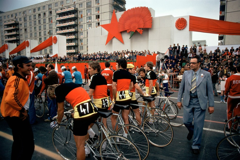 "East Berlin. 1974. Start of the ""Friedensfahrt"" the annual peace-bicycle race on Karl Marx Allee."