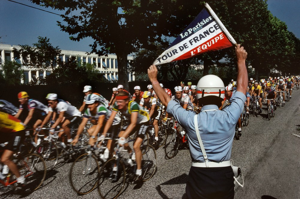 Tour de France 1982. The motorcycle police at the Tour de France. France. 1982.