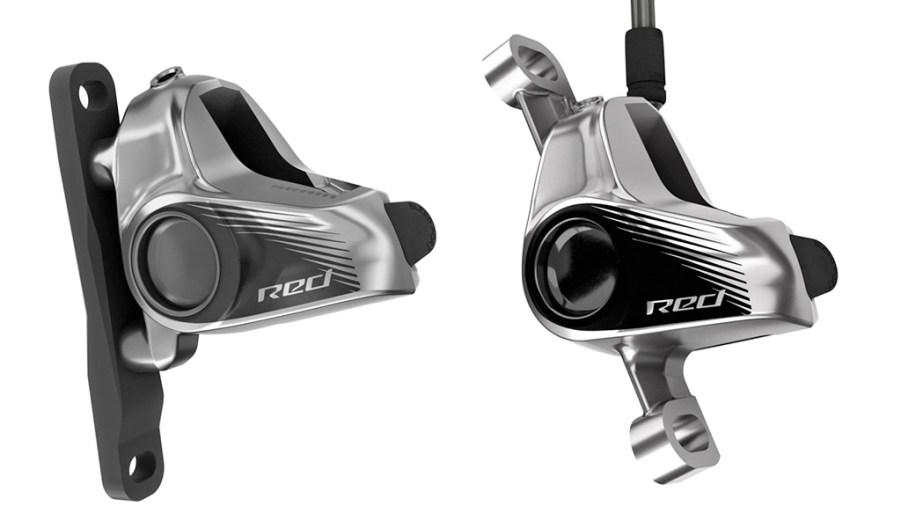 SRAM will offer new one-piece forged aluminum disc brake calipers for the Red eTap HRD groupset, in both flat mount (left) and post mount varieties.