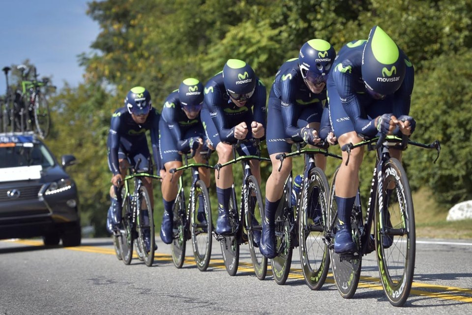 The Movistar Team in action during the 2015 UCI World Championships TTT