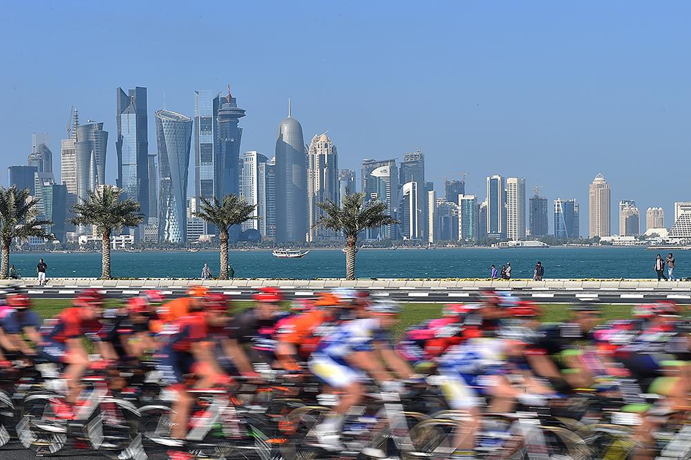 Cycling: 15th Tour of Qatar 2016 / Stage 5 Illustration Illustratie / Peleton Peloton / Doha City Ville Stad / Skyline / Landscape Paysage Landschap / Sealine Beach Resort - Doha Corniche (114,5km)/ Etape Rit Ronde/(c) Tim De Waele