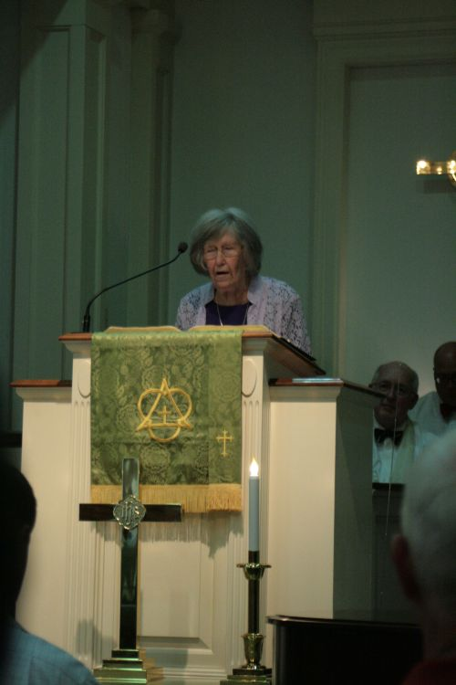 As Inez Mitchum, Ruling Elder, Park Circle Presbyterian Church, First Female Moderator of Charleston Atlantic Presbytery, Resident of the Village, introduced and Presented Russ as Candidate for Ordination, she could reflect on her involvement in her invitations and invitations of Russ to preach at our community several times over the past few years.