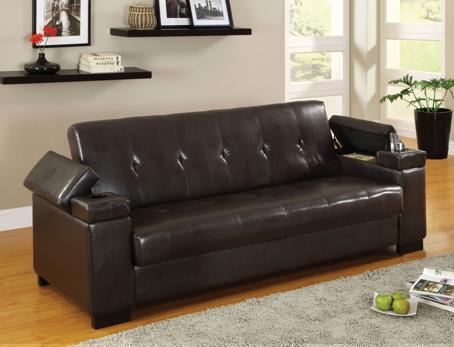 Enrico Sofa Bed With Storage Cup Holder Futons