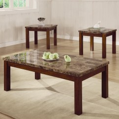 3 Piece Table Set For Living Room Curtain Ideas Windows Arden Marble Look Top Coffee End