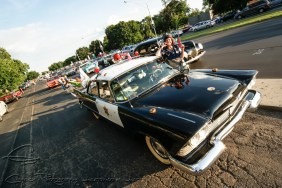 The 1958 Plymouth cop car here has an original 53,000 miles on it and has been dressed up by current owner, Jeannie Kime.