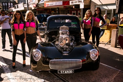 willys hot rod, promotion girls, acland street