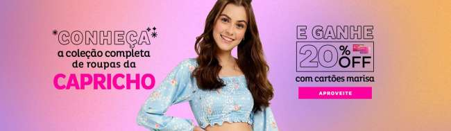 In the center, model wears cropped blue long sleeve. She's got one hand around her waist, smiling. On the one hand, the phrase