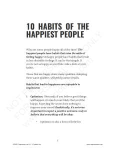 10 HABITS OF THE HAPPIEST PEOPLE