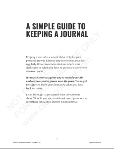 A SIMPLE GUIDE TO KEEPING A JOURNAL