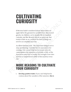 CULTIVATING CURIOSITY