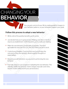 CHANGING YOUR BEHAVIOR