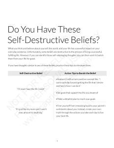 DO YOU HAVE THESE SELF-DESTRUCTIVE BELIEFS?