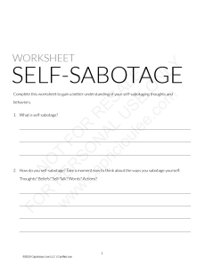 SELF-SABOTAGE WORKSHEET