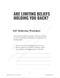 ARE LIMITING BELIEFS HOLDING YOU BACK?