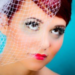 Wedding Makeup with Bird Cage Veil