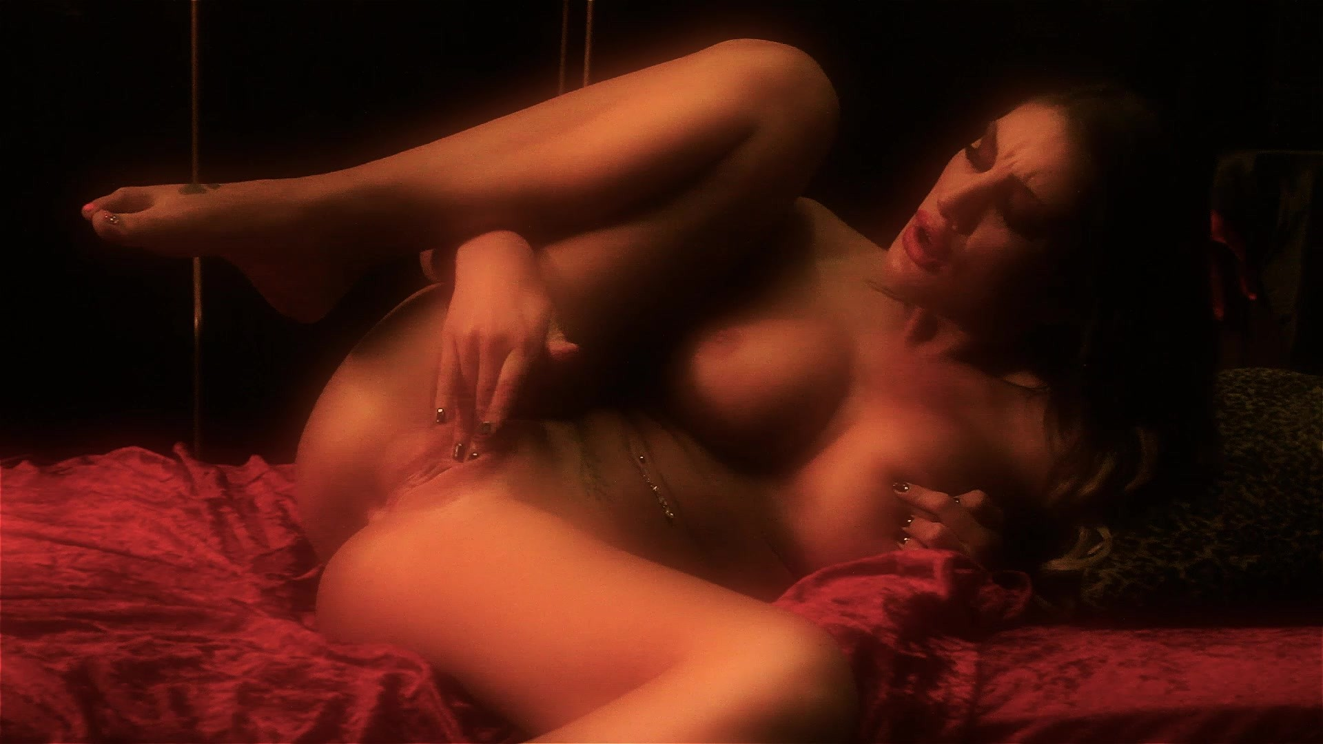 Naked Busty Brunette August Ames Touches Herself Starring: August Ames