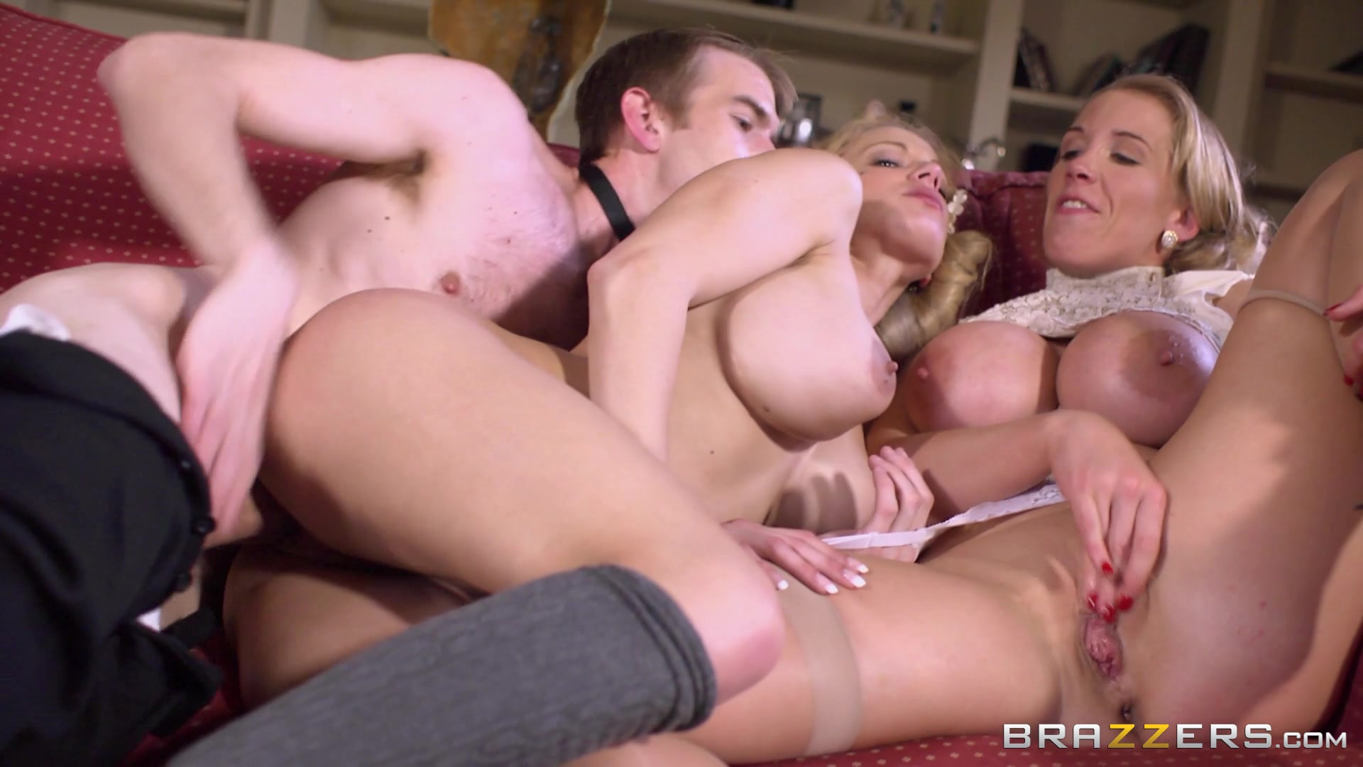 Busty Blondes Rebecca More and Lou Lou Eat Pussy and Share His Big Dick Starring: Lou Lou Rebecca More Length: 39 min