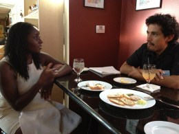 Malaika Singleton and Jose Gonzalez learn about each other's careers at the CapSciComm meetup in August.