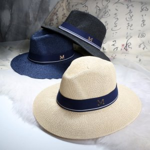 d8422274c0a 2016 New Maison Michel Straw Hats Wide Brim M Letter Summer Hat Women  Chapeu Jazz Trilby Bowler Summer Hats For Women