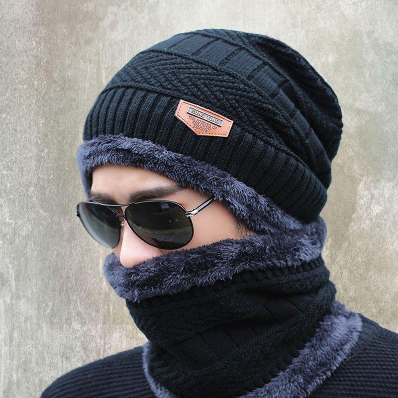 Knit Mens Winter Hats Caps Beanies  Skullies Bonnet For Men Women Neck Warmer