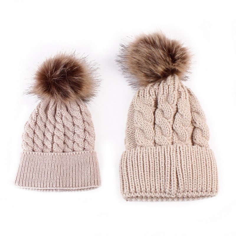 b057ae77932 Mom and Baby Matching Knitted Hats Warm Fleece Crochet Beanie Hats Winter  Mink PomPom Kids Children Mommy Headwear Hat Caps