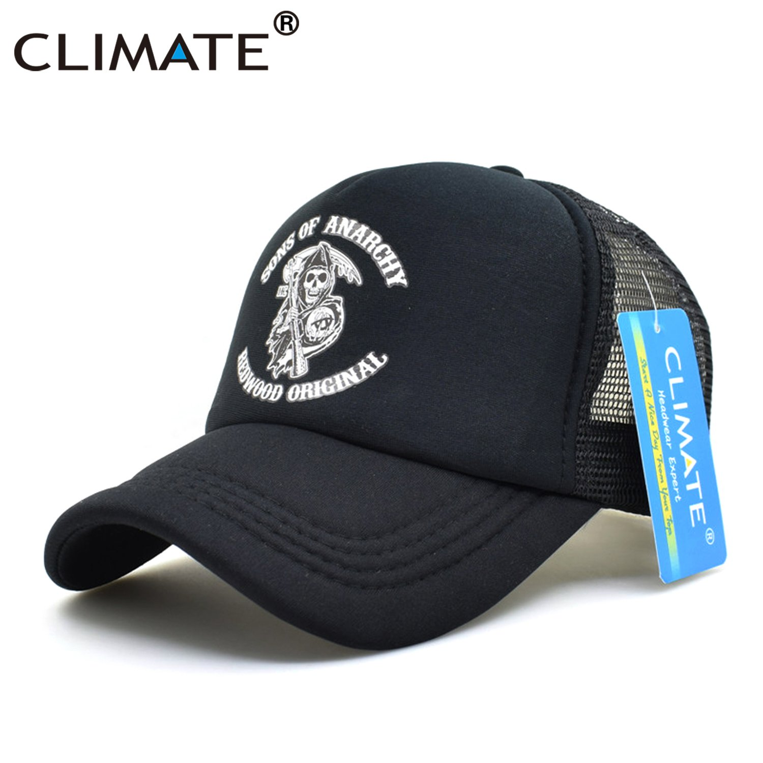 CLIMATE Men Cool Trucker Cap Sons of Anarchy Redwood Death Cool Mesh ... 6e3e44eaccb