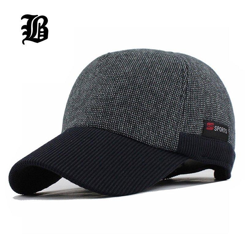 e4d923bab57  FLB  Warm Winter Thickened Baseball Cap Men S Cotton Hat Snapback Winter  Hats Ear Flaps ...