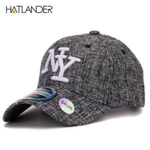 HATLANDER 2017 kids cotton linen baseball caps for boys girls outdoor sun  hats NY letter adjustable casual children sports cap 29fe99e0aa1