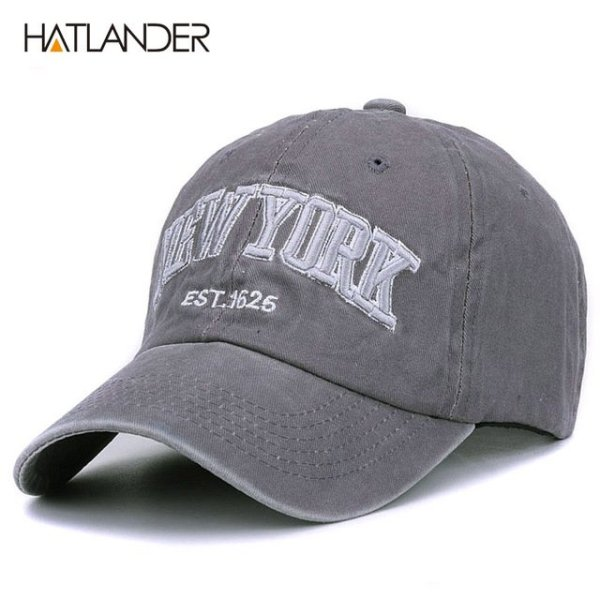 [HATLANDER]Sand washed 100% cotton baseball cap hat for women men vintage dad hat NEW YORK embroidery letter outdoor sports caps 9