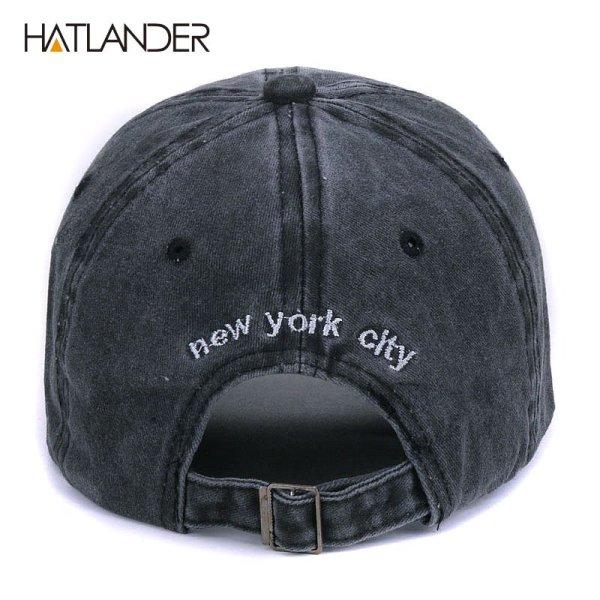 [HATLANDER]Sand washed 100% cotton baseball cap hat for women men vintage dad hat NEW YORK embroidery letter outdoor sports caps 4