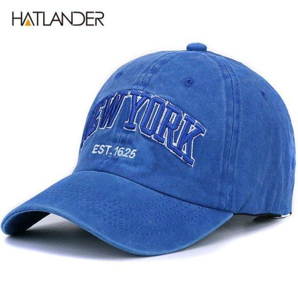 [HATLANDER]Sand washed 100% cotton baseball cap hat for women men vintage dad hat NEW YORK embroidery letter outdoor sports caps 11