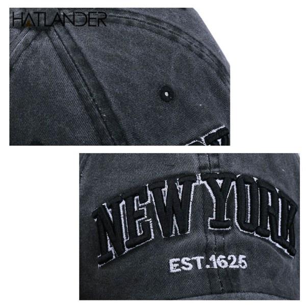 [HATLANDER]Sand washed 100% cotton baseball cap hat for women men vintage dad hat NEW YORK embroidery letter outdoor sports caps 6