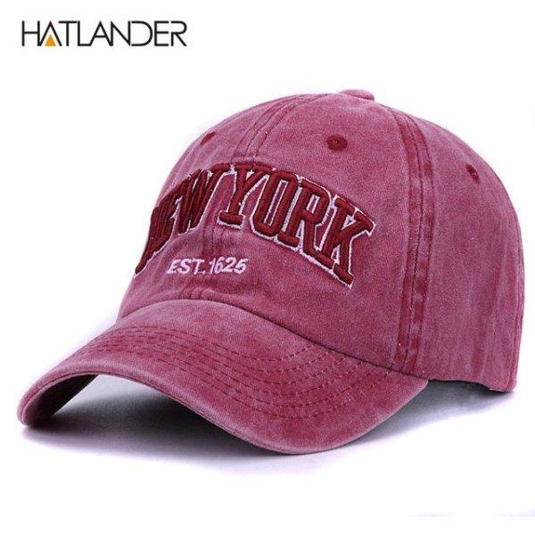 [HATLANDER]Sand washed 100% cotton baseball cap hat for women men vintage dad hat NEW YORK embroidery letter outdoor sports caps 12