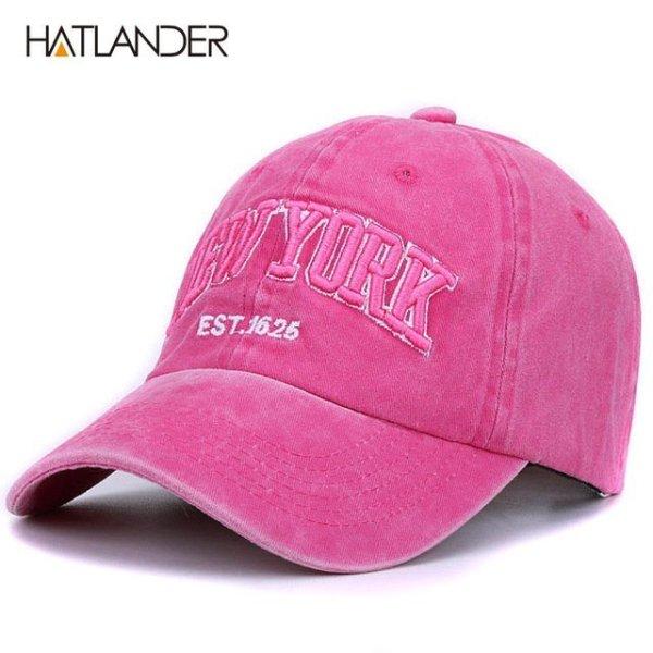 [HATLANDER]Sand washed 100% cotton baseball cap hat for women men vintage dad hat NEW YORK embroidery letter outdoor sports caps 14