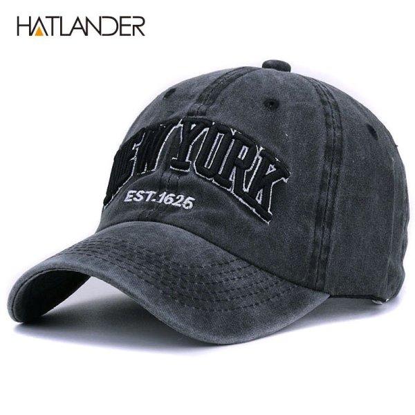 [HATLANDER]Sand washed 100% cotton baseball cap hat for women men vintage dad hat NEW YORK embroidery letter outdoor sports caps 1